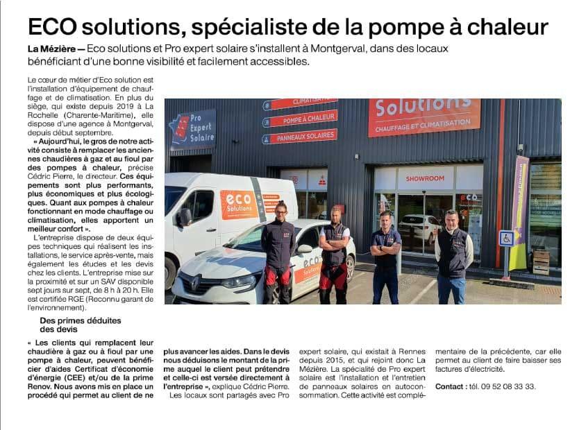 article sur Eco Solutions paru dans le journal Ouest France